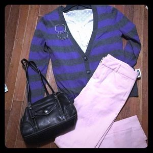 Eclectic Old Navy Purple & Grey Striped Cardigan